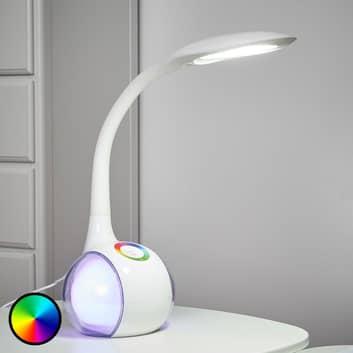 Giętka lampa stołowa LED PAULA, biała