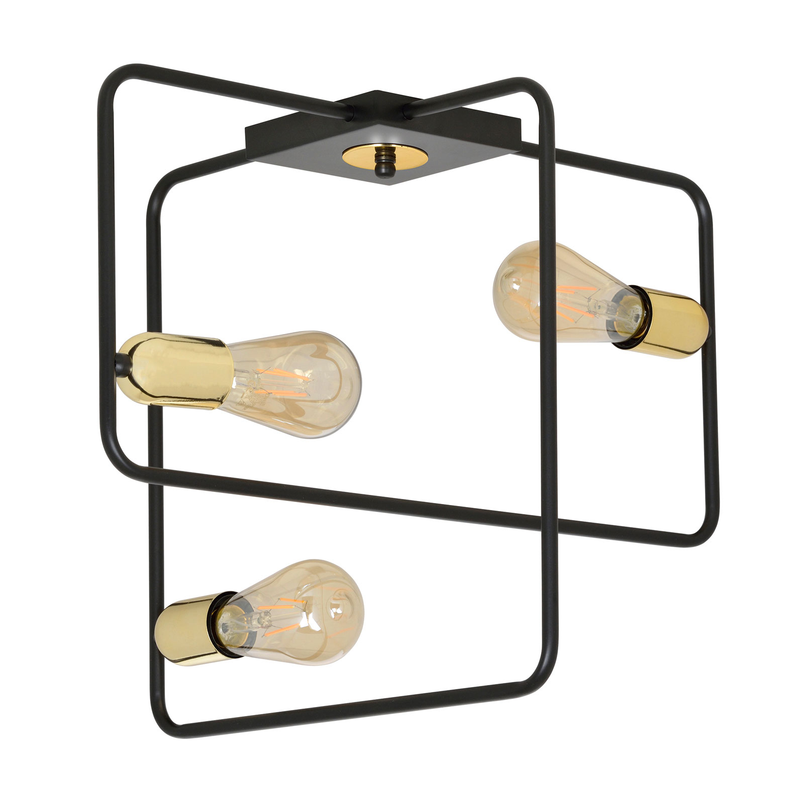 Taklampe Savo 3 med metallramme, svart-gull