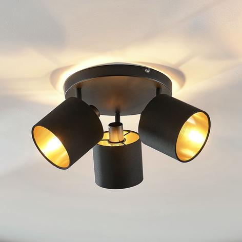 Stoff-Deckenlampe Vasilia in Schwarz-Gold, 3-fl.