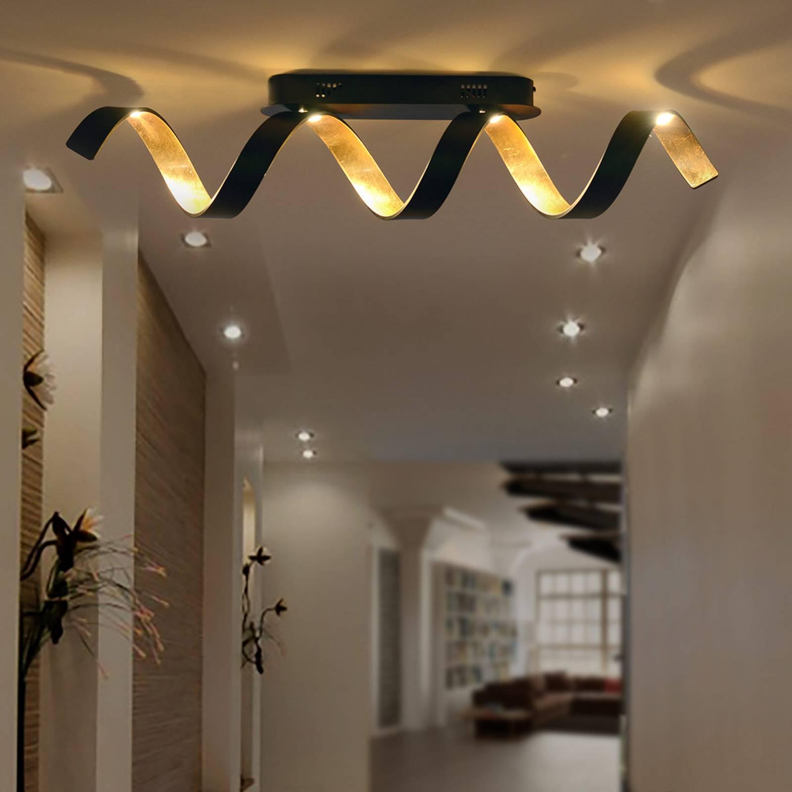 LED plafondlamp Helix in zwart-goud