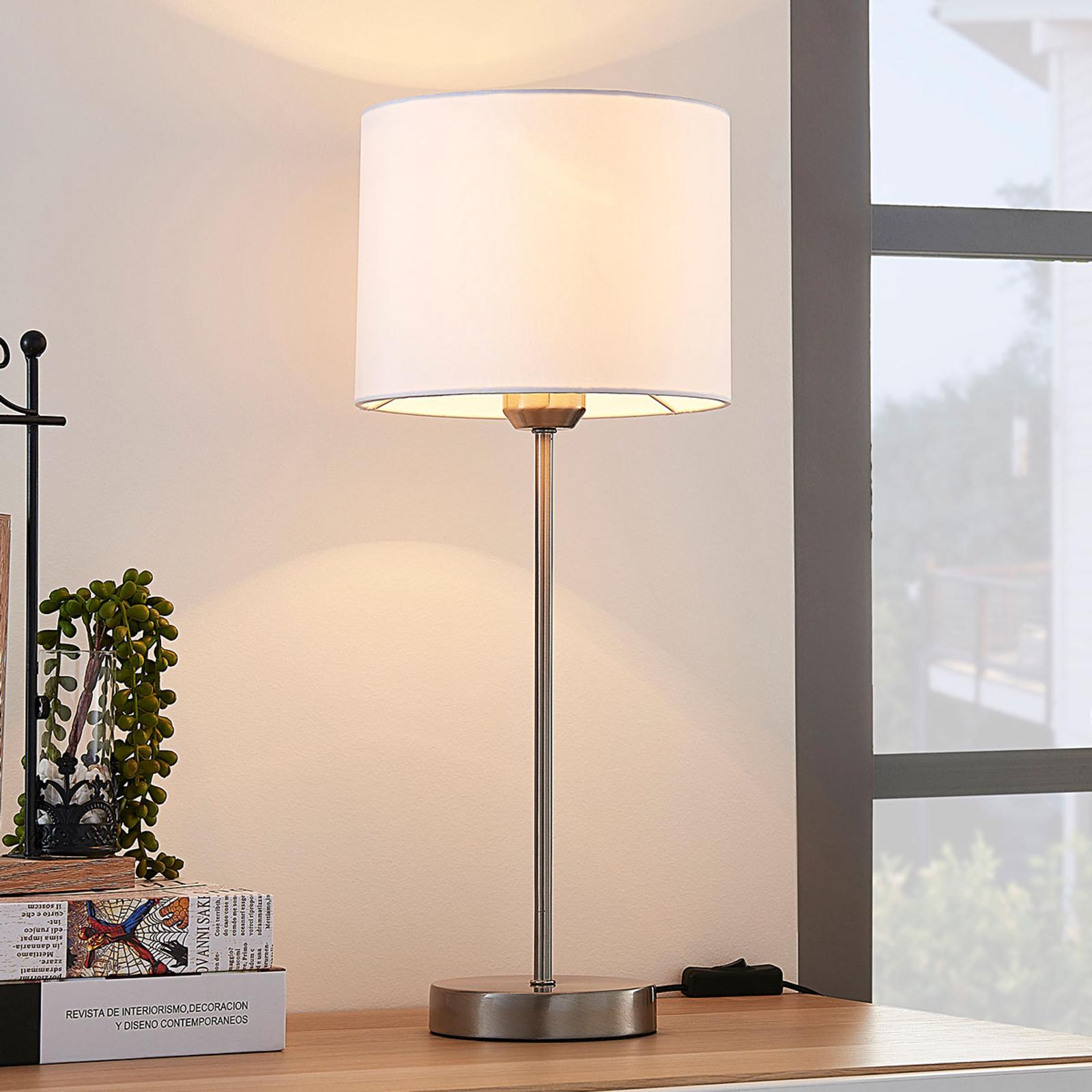 Lámpara de mesa Annatina blanca con tulipa de tela
