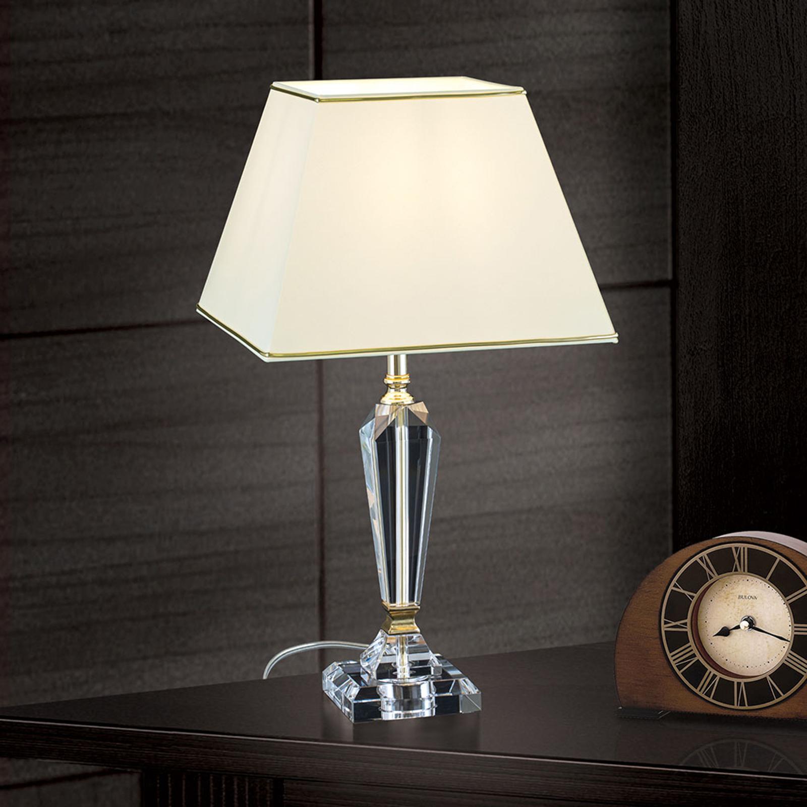 Tafellamp Veronique, voet smal, crème/goud
