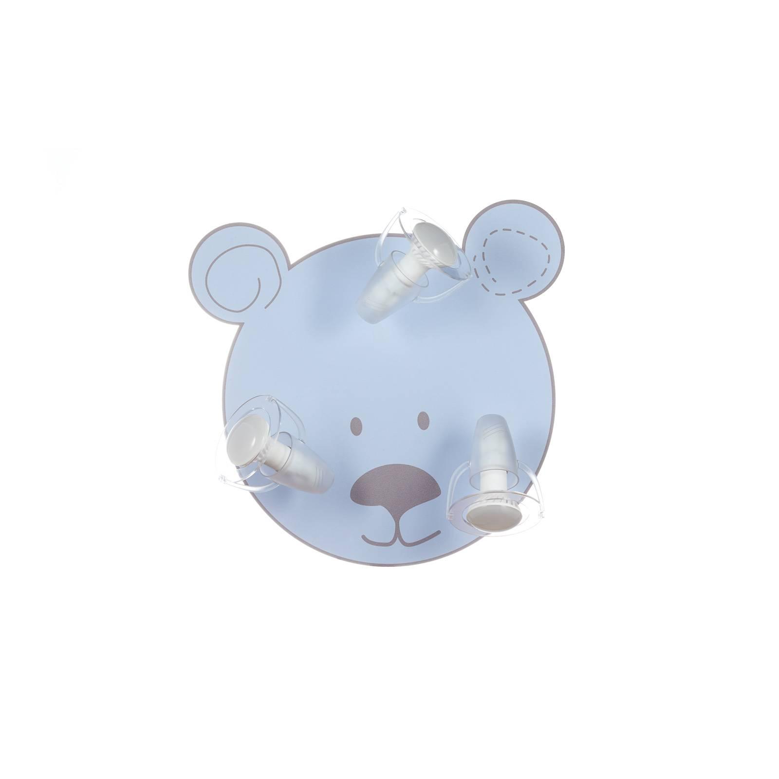 Deckenleuchte Bär mit 3 Strahlern, hellblau