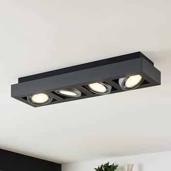 Foco de techo LED Ronka, 4 brazos, largo, gris