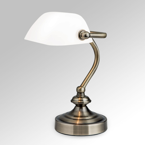 Klassinen Zora-pankkiirilamppu lasivarjostimella