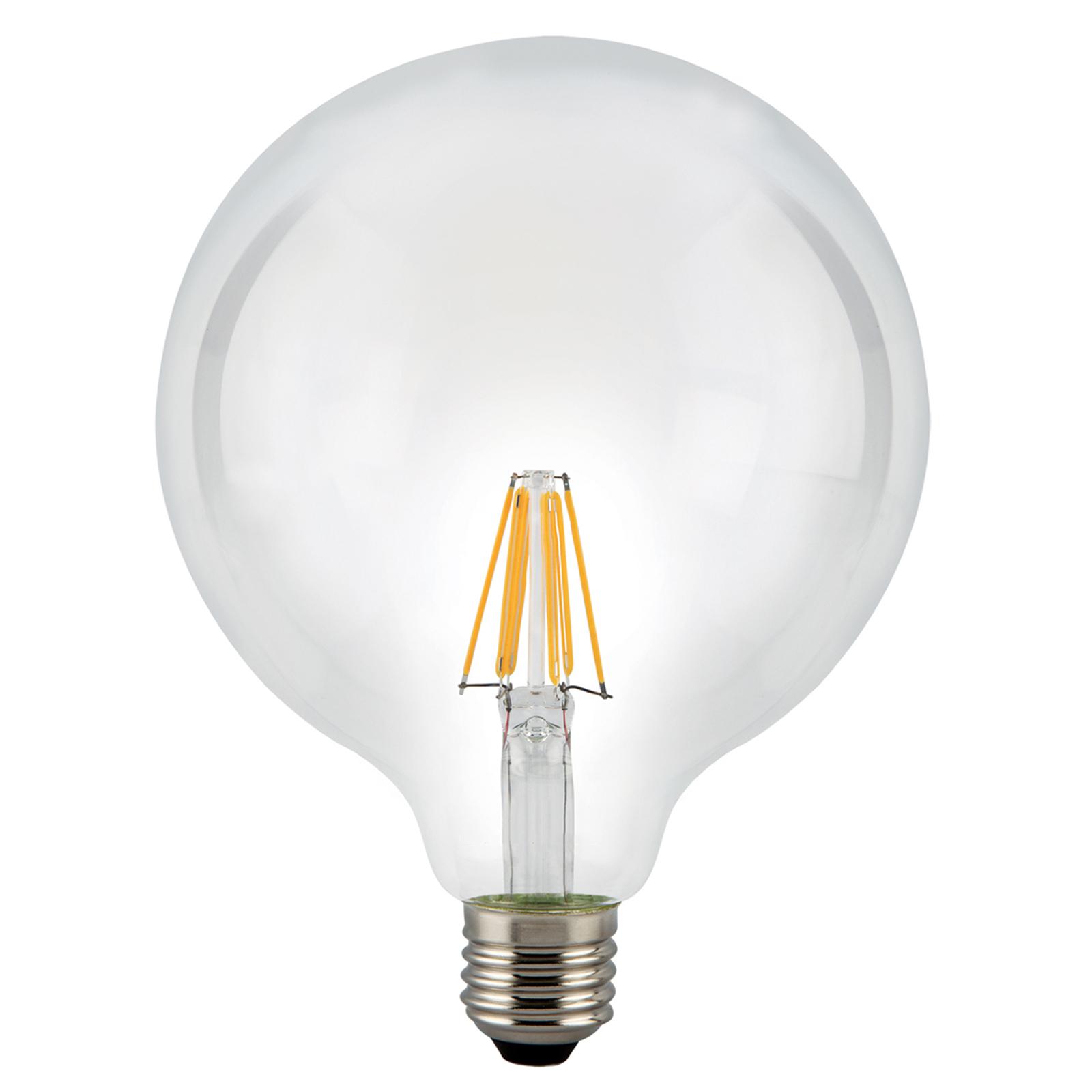 Ampoule globe LED E27 8W 827, transparent