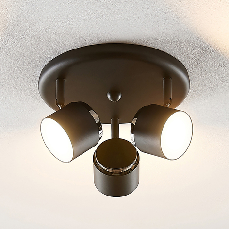 Lindby Marrie -LED-spottiplafondi, musta, 3-lamp.