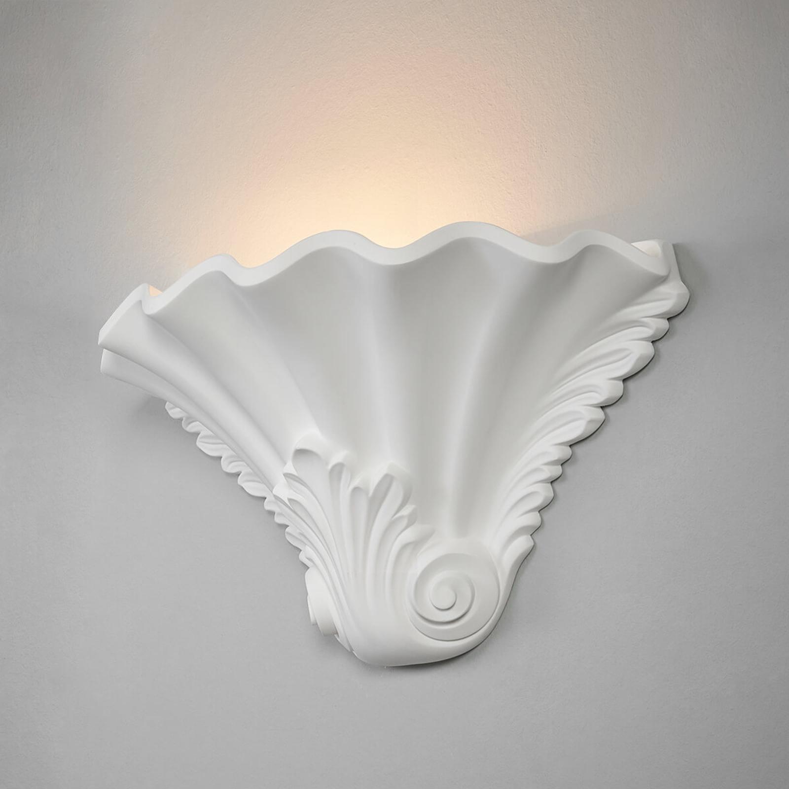Gips wandlamp Lennet met reliëf in wit