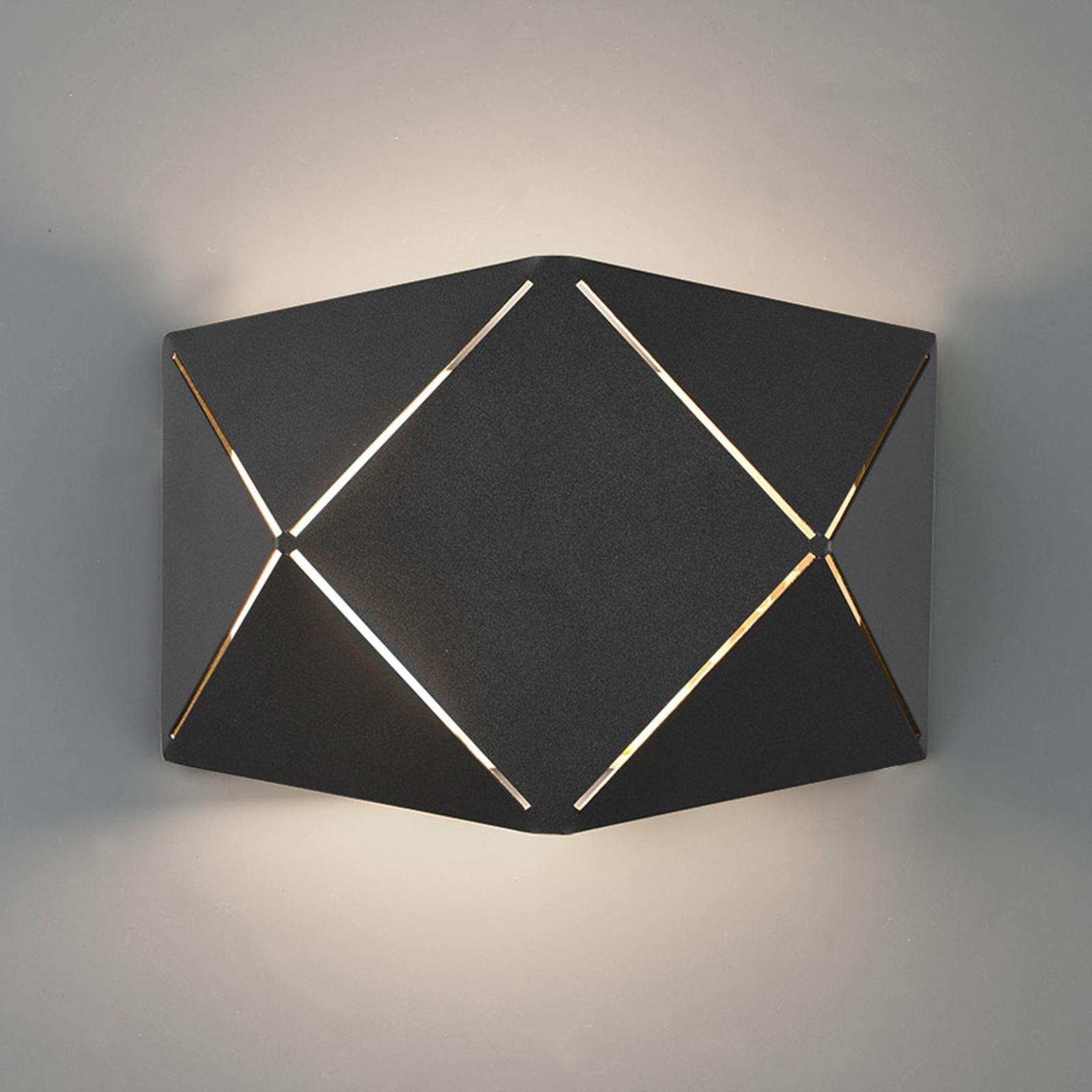 LED wandlamp Zandor in zwart, breedte 18 cm