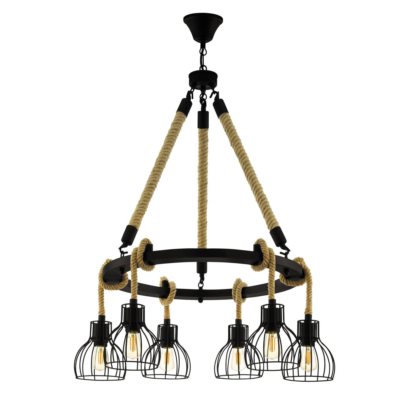 Lampa wisząca Rampside z 6 klatkowymi kloszami
