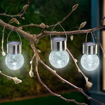 3 LED solcelle lampan Crackle Ball 6.000 K