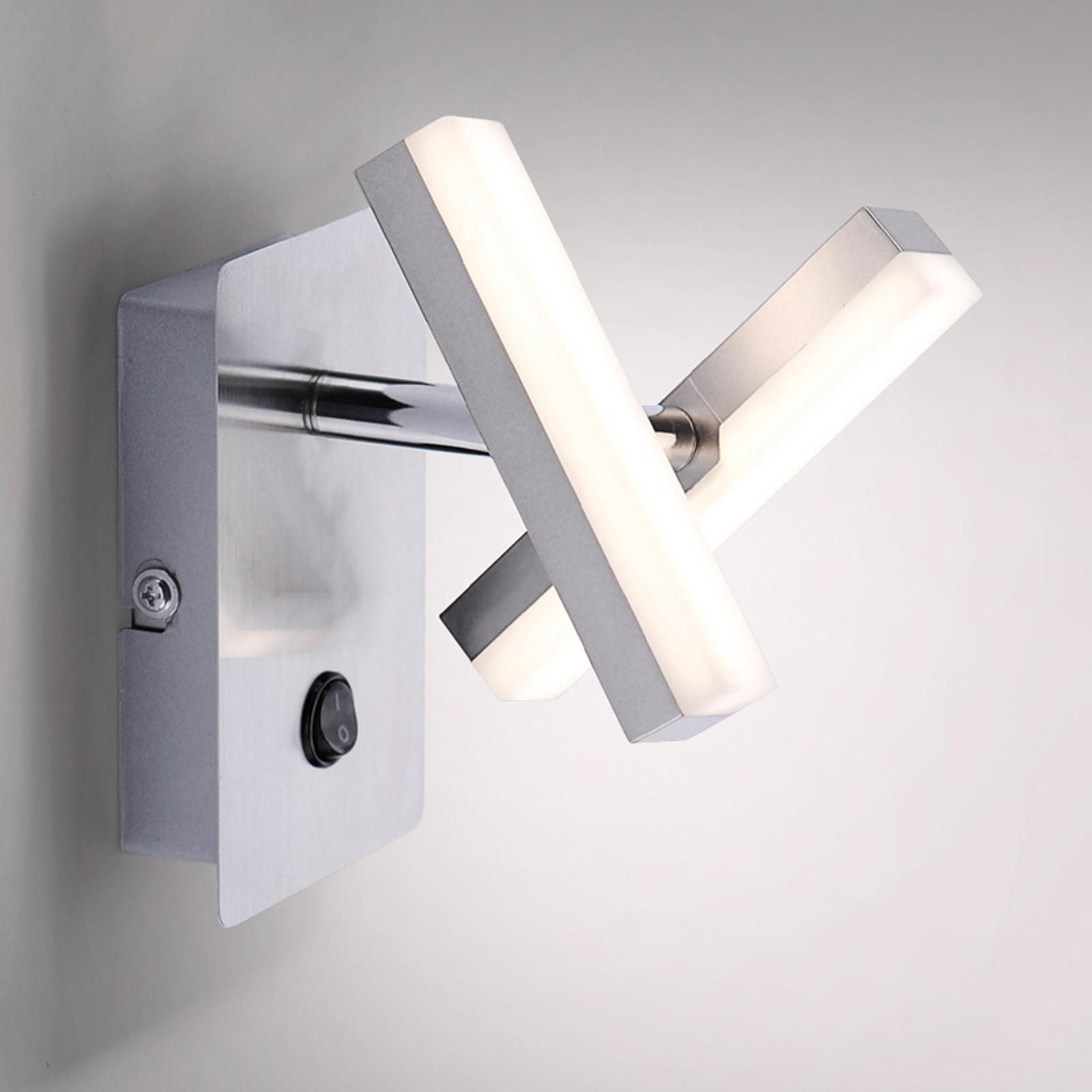 Kantformet LED-vegglampe Rico, to-armet
