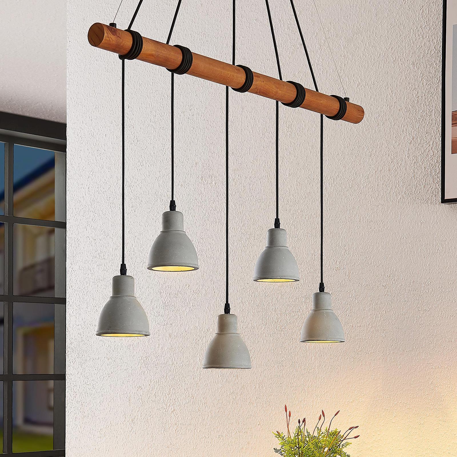Lindby Dorte hængelampe af træ og beton