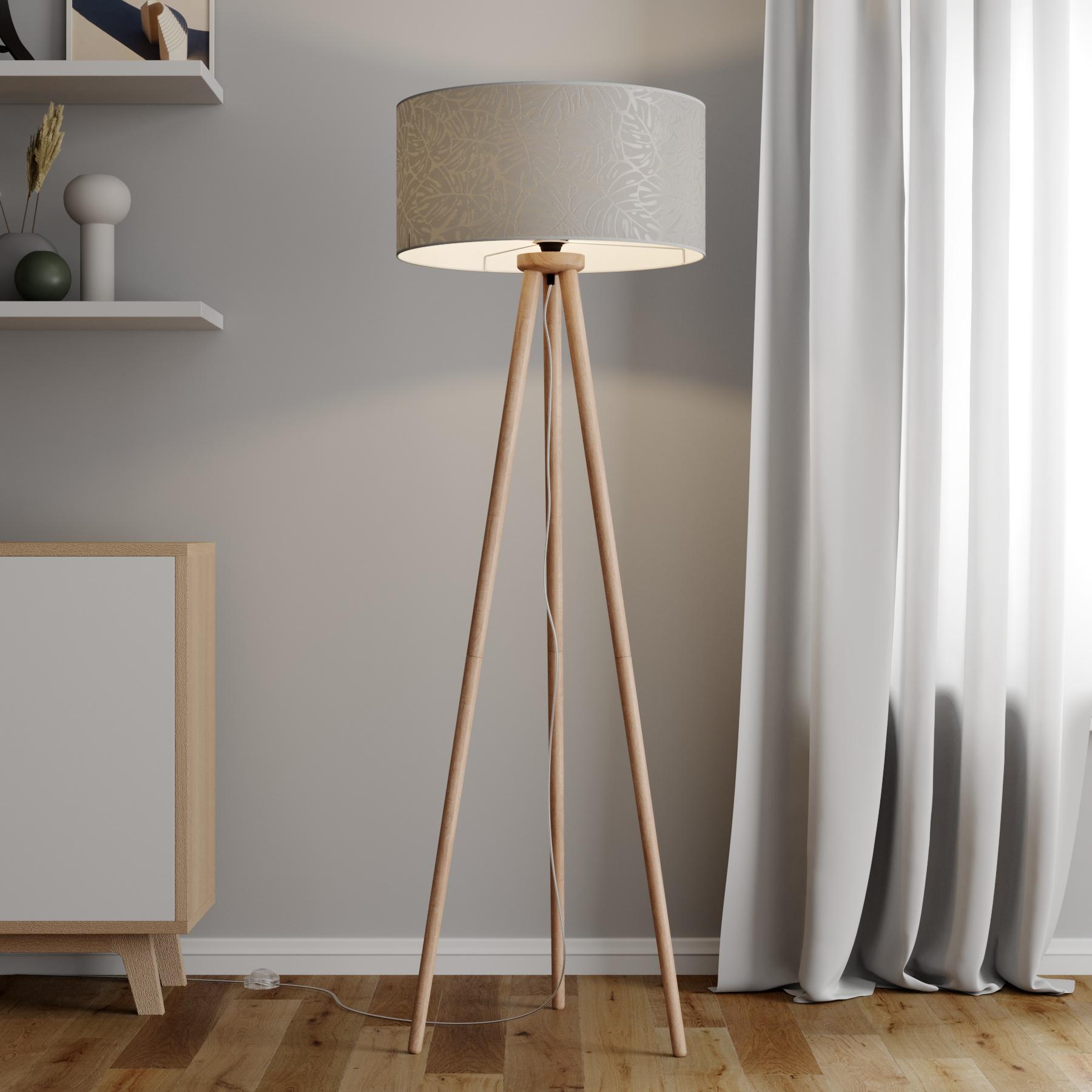 Stehleuchte Hierro mit bedrucktem Lampenschirm