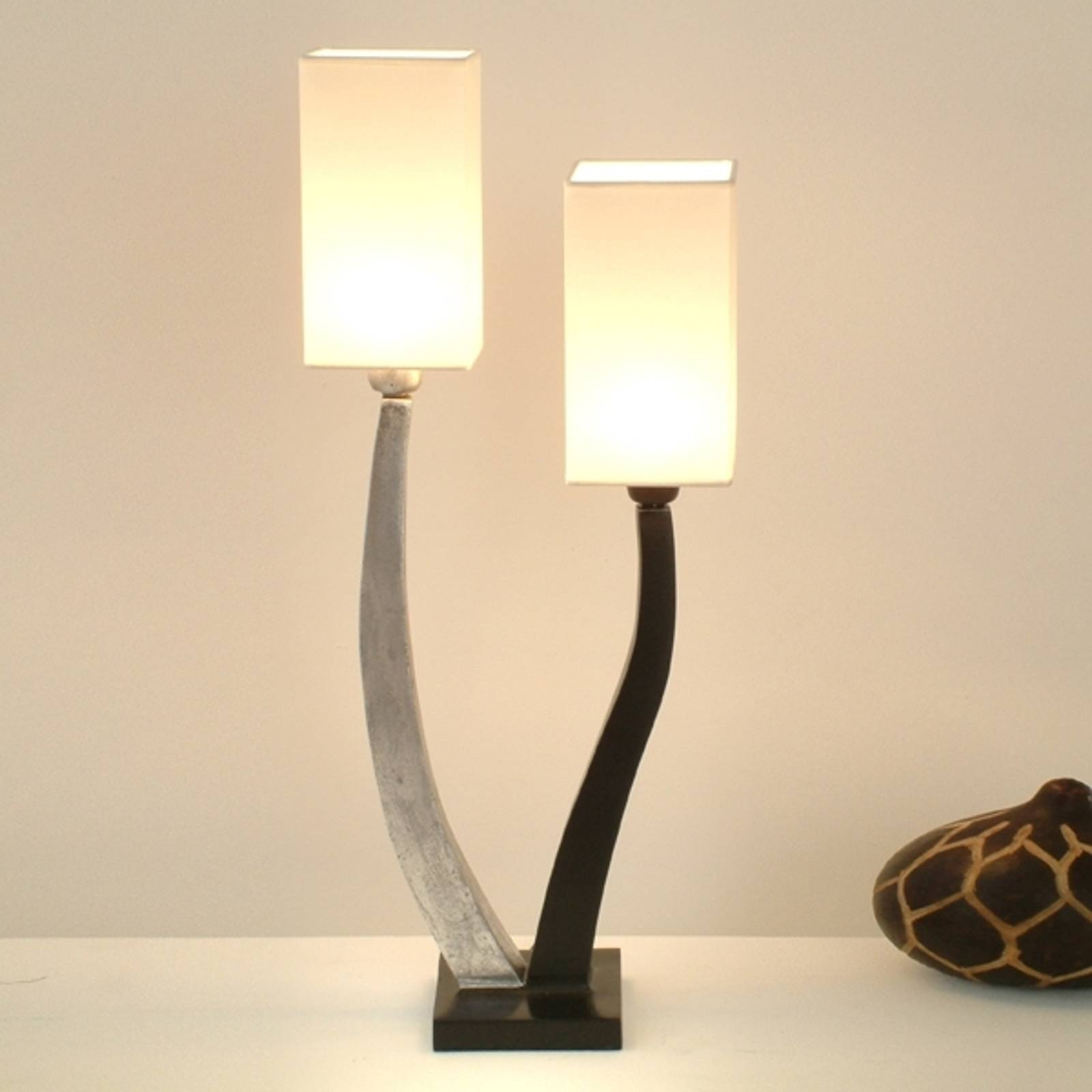 Elegante tafellamp QUADRANGOLARE zilver 2-lichts