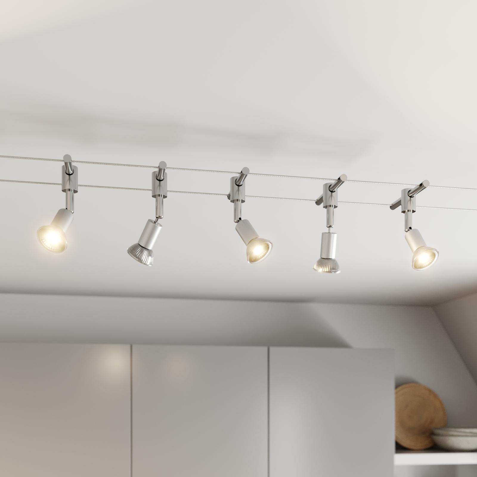 Vaiersystem Rope med LED-spotlight, 5 lyskilder