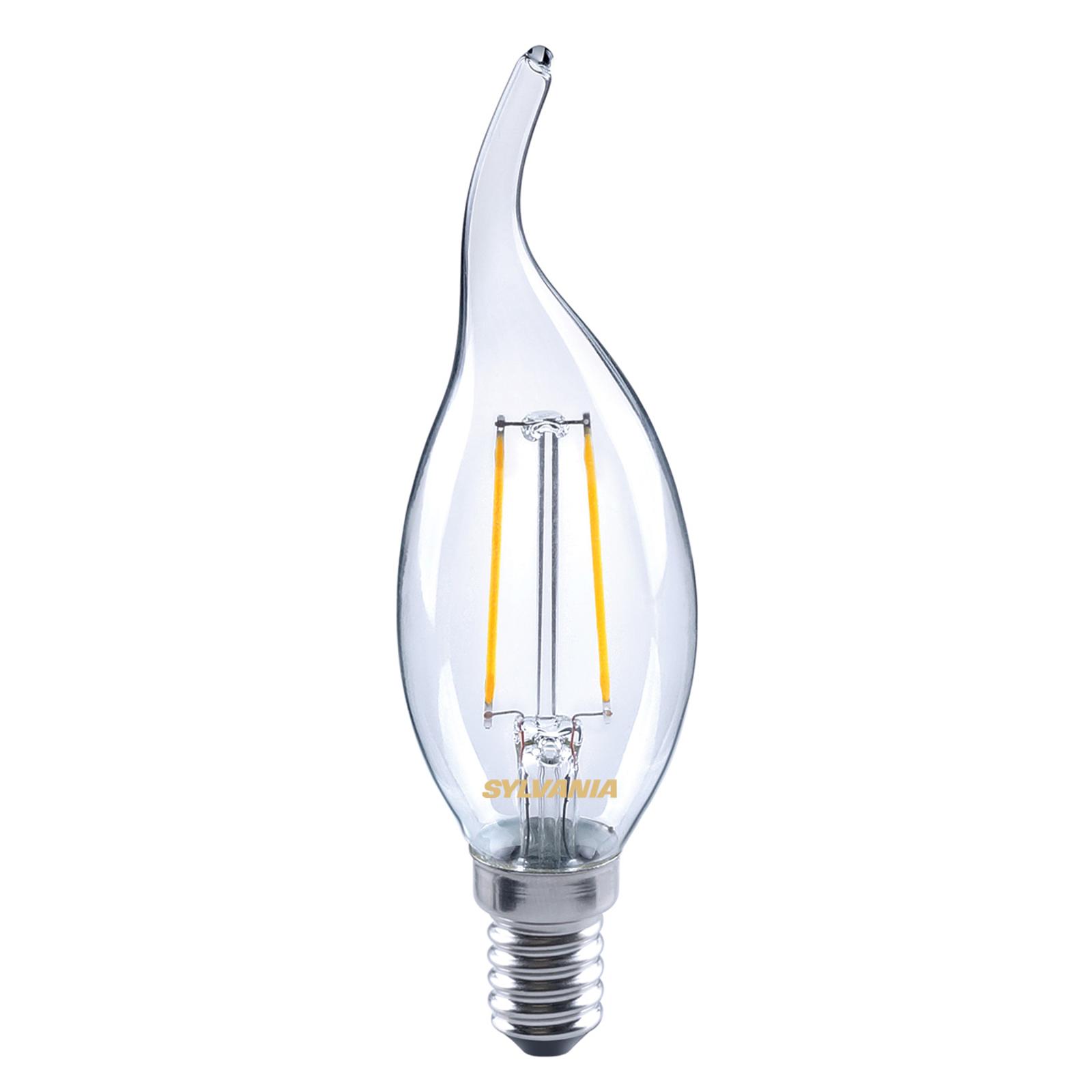 LED-Kerzenlampe E14 ToLEDo 2,5W 827 klar, Windstoß