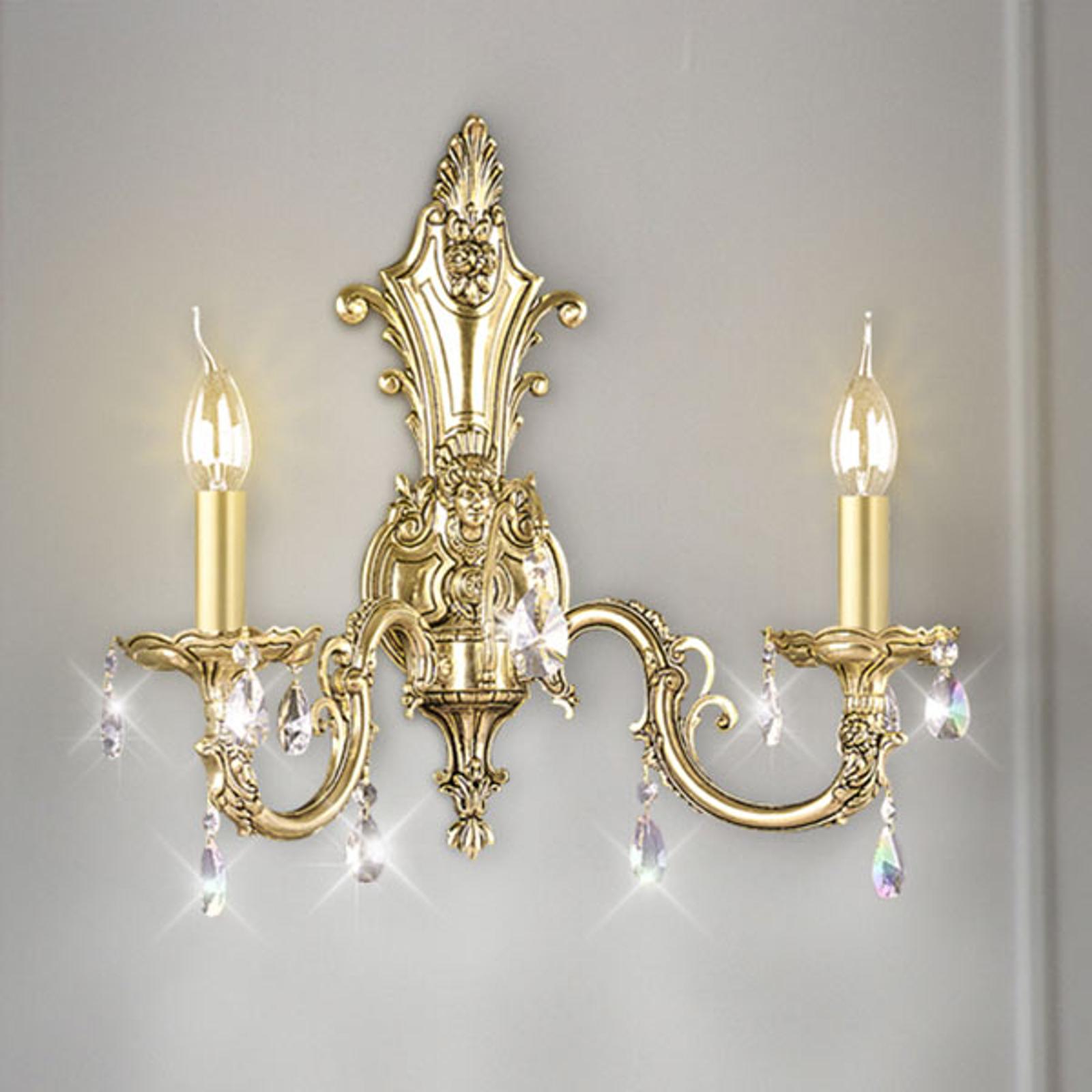 Applique Royal avec cristaux 2 lampes, doré ancien