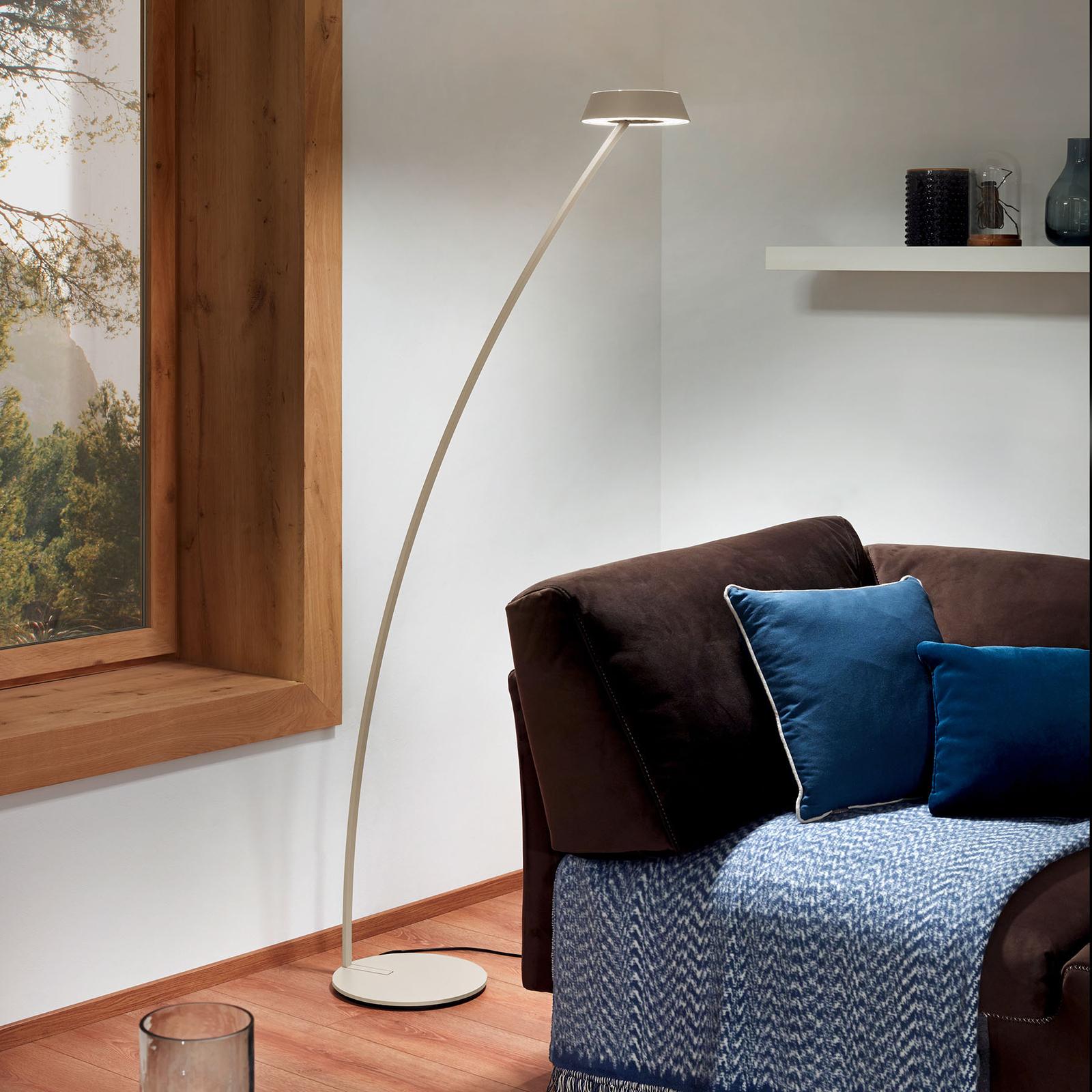OLIGO Glance LED vloerlamp gebogen Cashmere