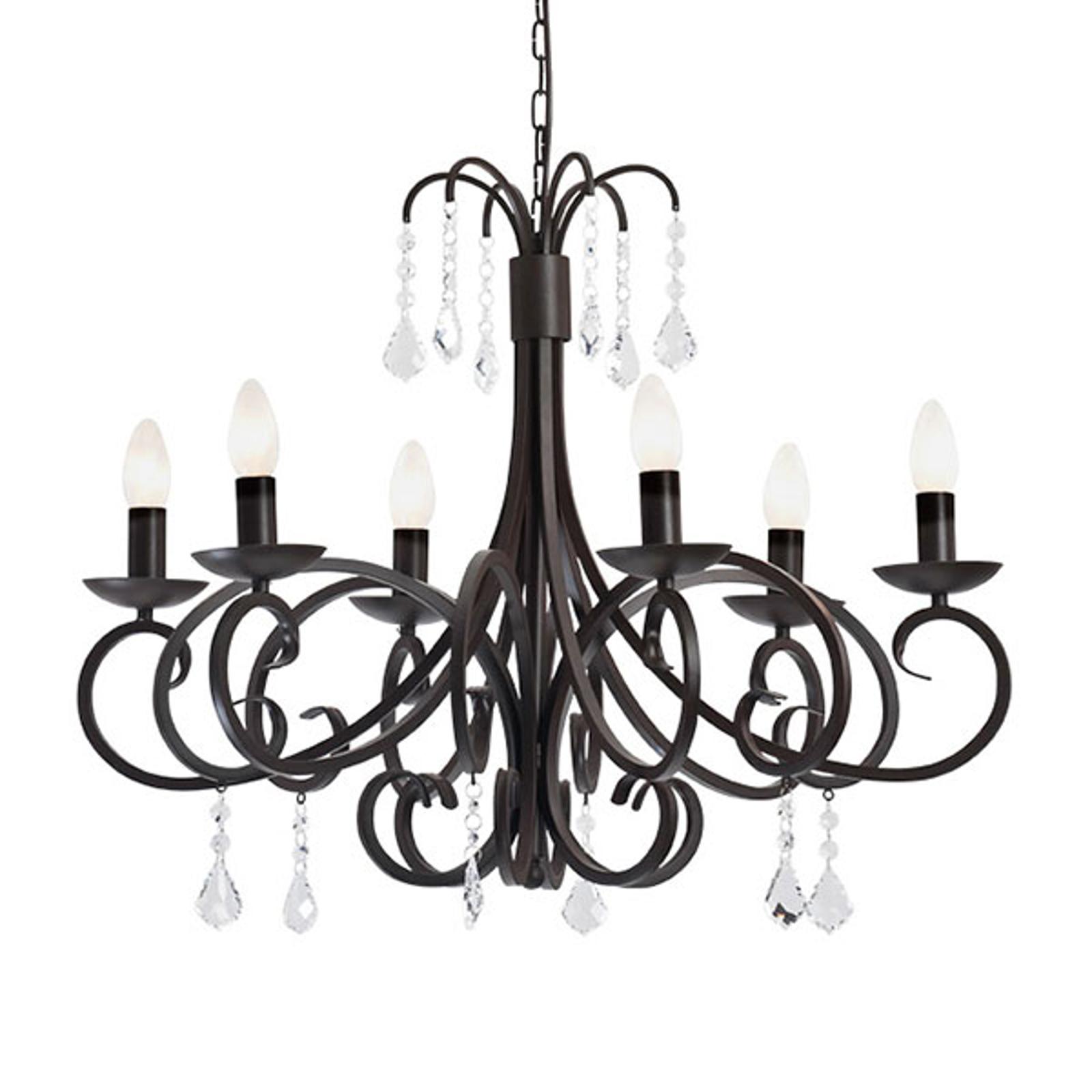 Ljuskrona Caldas med glashängen, 6 lampor