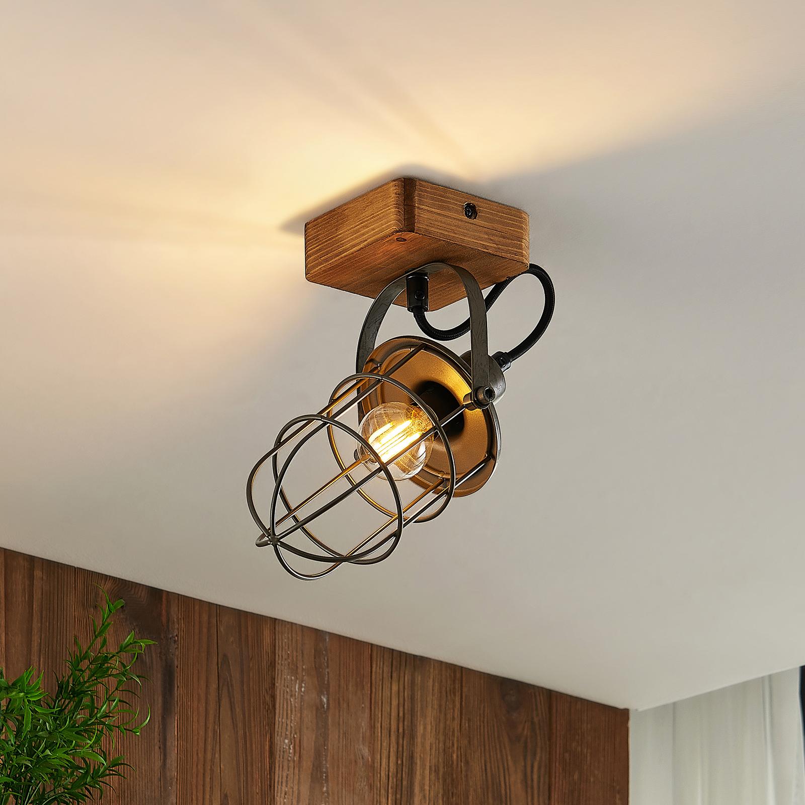 Lindby Serima Deckenlampe Holz, Käfigschirm, 1-fl.