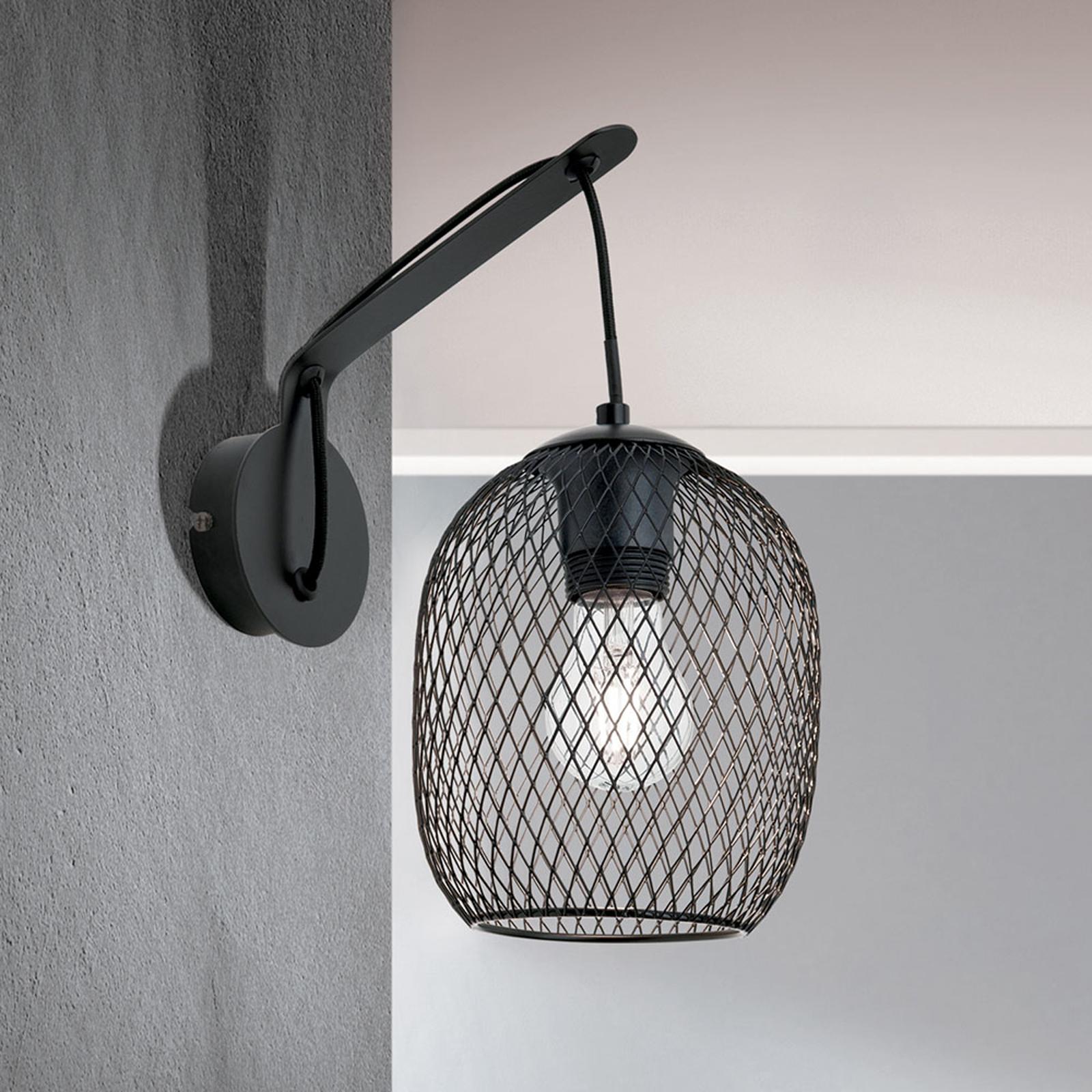 Lampa ścienna Georgina z kloszem klatkowym