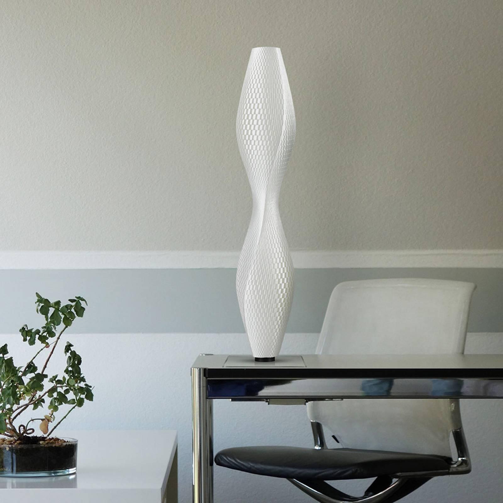 Lampa stojąca LED plecionka Lava, 75cm, biała
