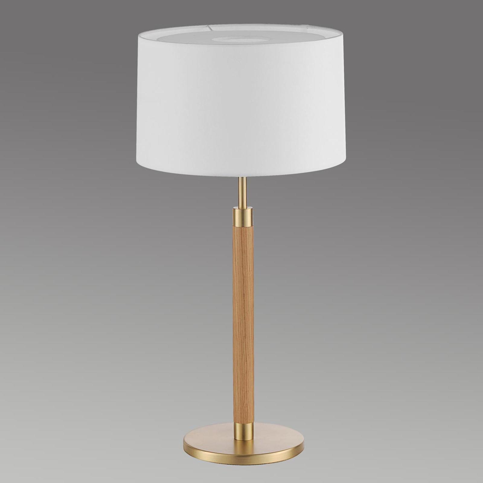 Houten tafellamp Lignum met sits-kap, messing