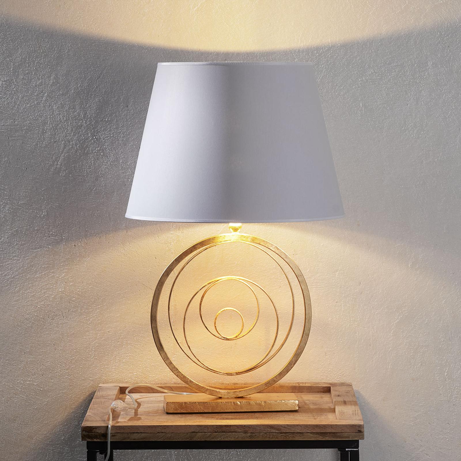 Edele tafellamp Ring met gouden voet