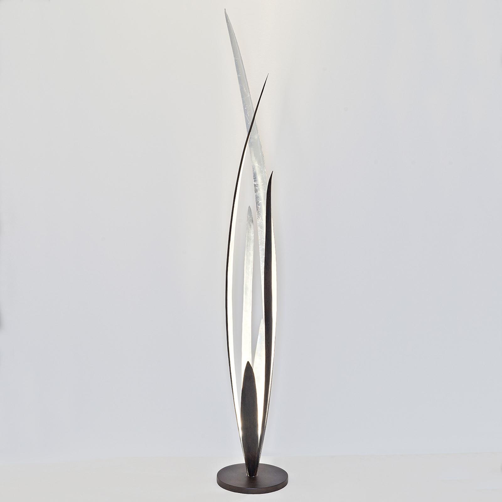 Palustre - zwart-bruin-zilveren vloerlamp