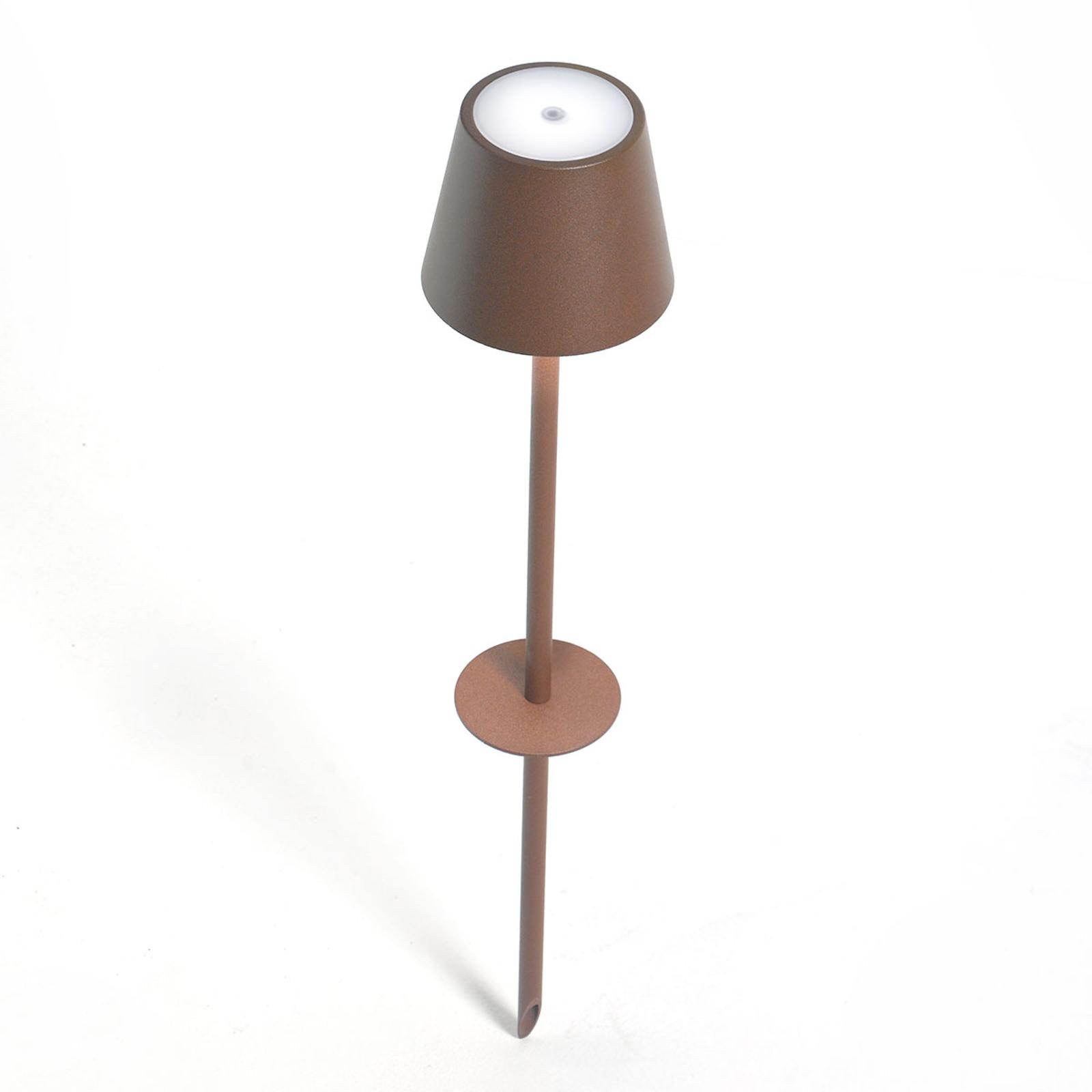 Picchetto LED Poldina a batteria, marrone 110 cm