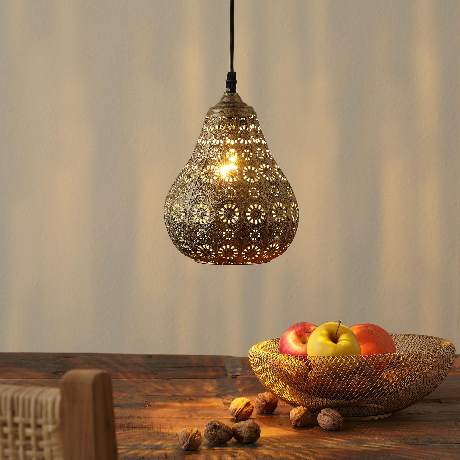 Oriental lámpara colgante Jasmin en latón antiguo