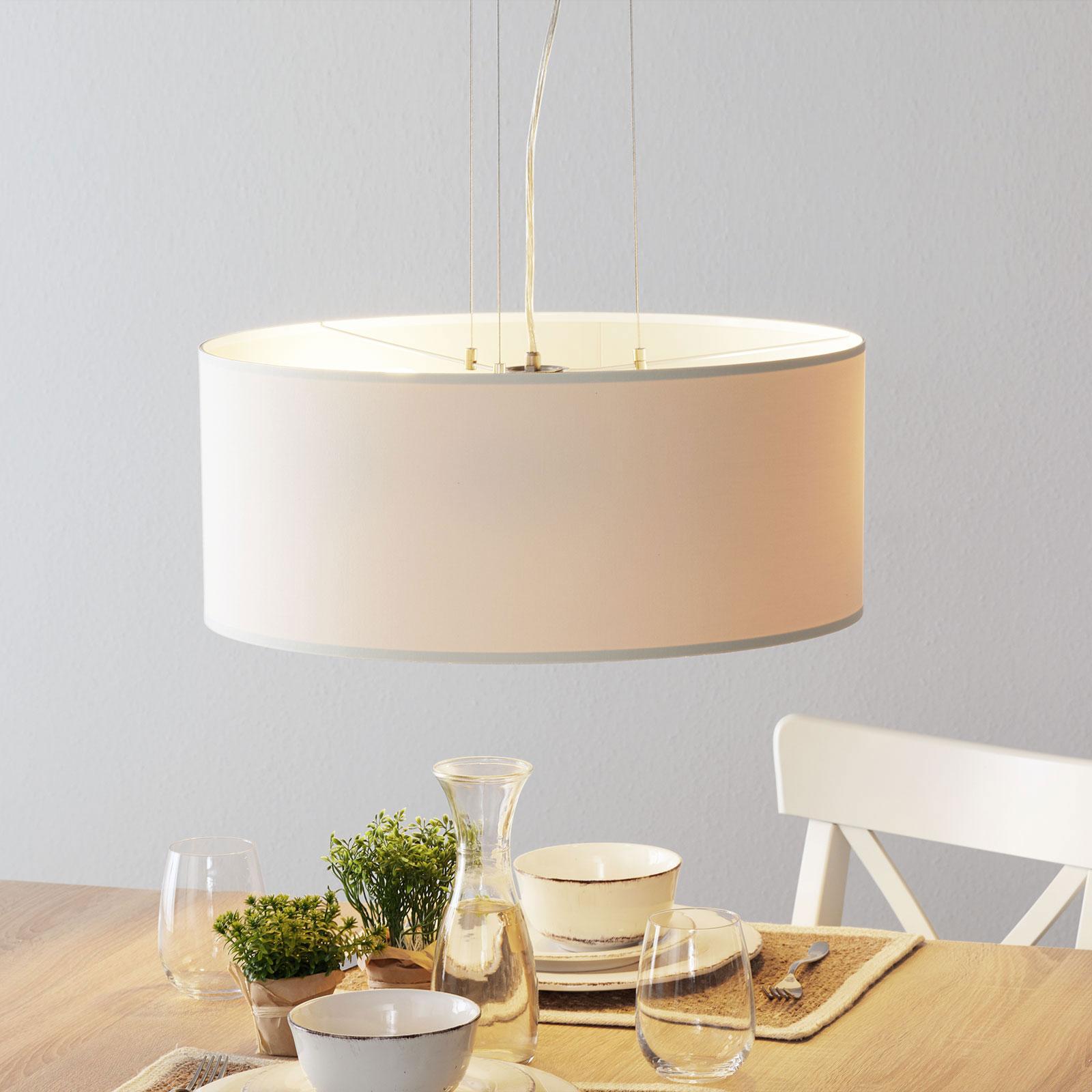 Lucande Patrik textilní závěsné světlo Ø53cm krém