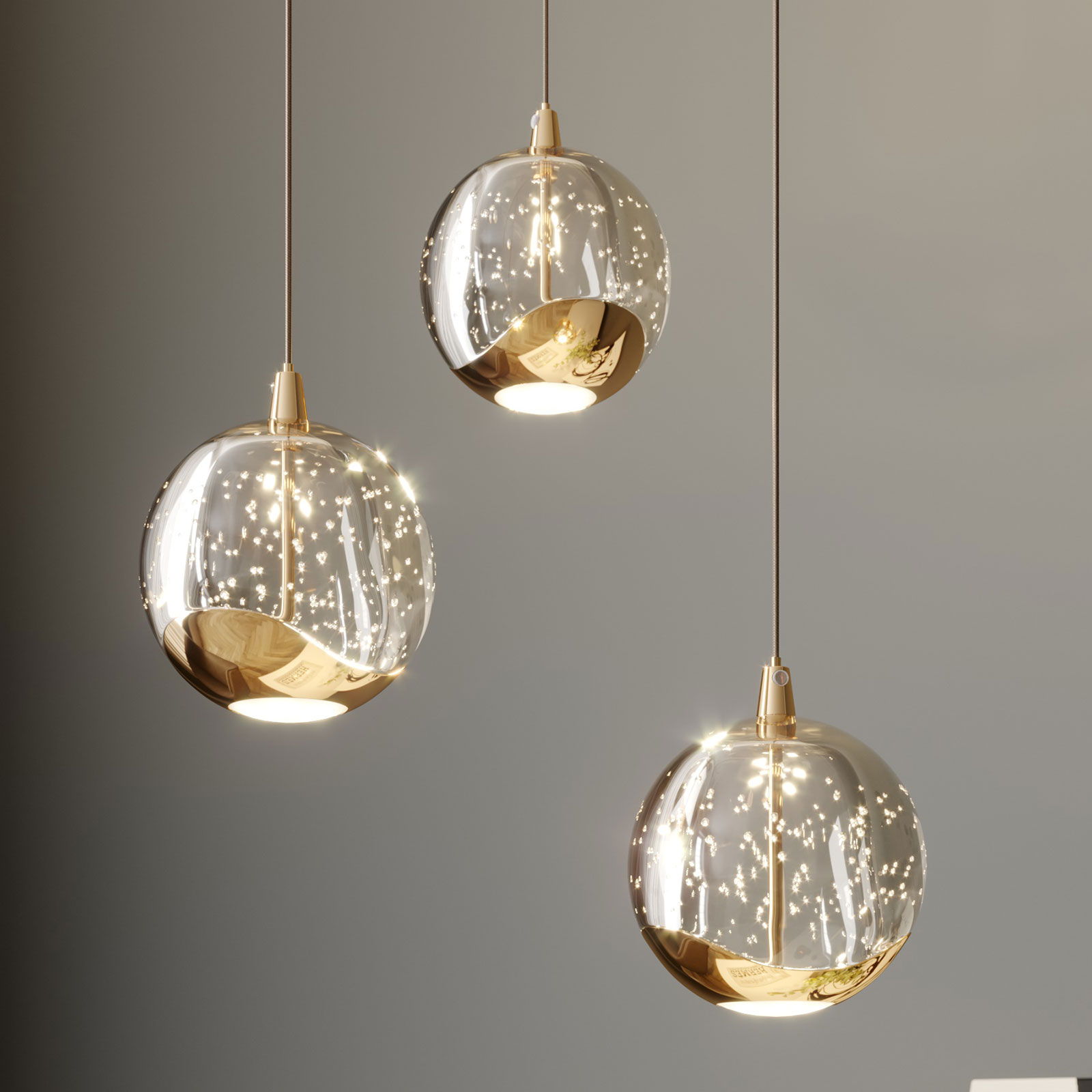 LED-Pendellampe Hayley m. Glaskugeln, 3-fl., gold