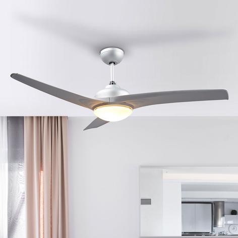 Stříbrný stropní ventilátor Emanuel, osvětlený