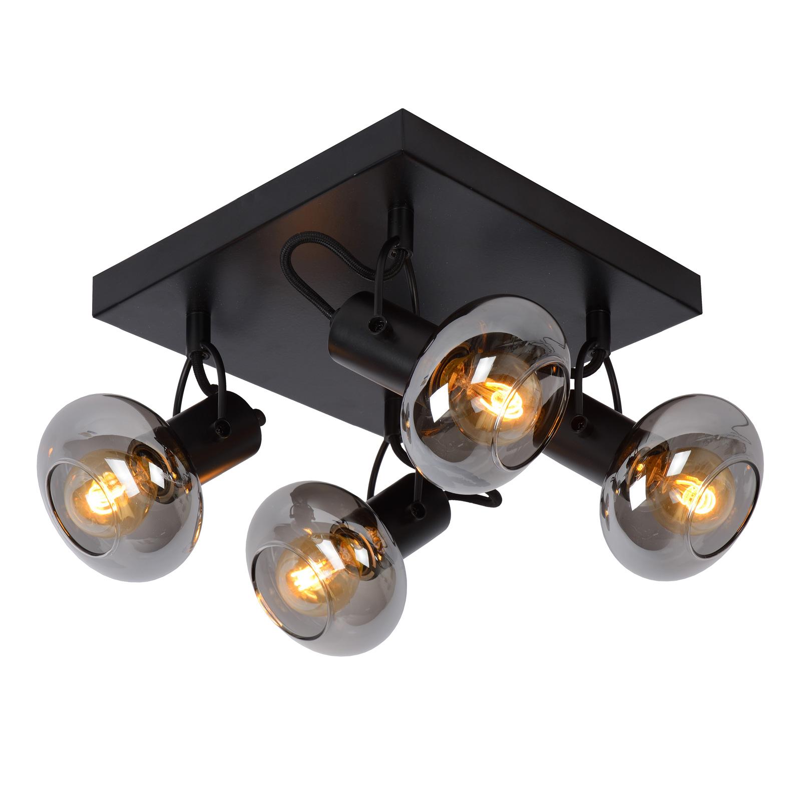 Faretto soffitto Madee, nero/fumè, 4 luci