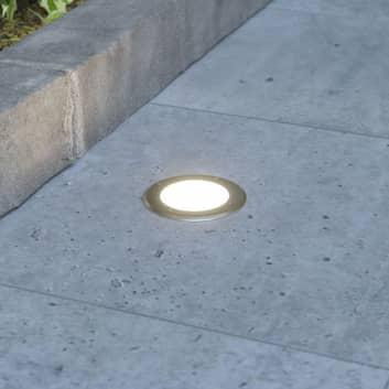 Rund LED-markinbyggnadslampa Doris, rostfritt stål