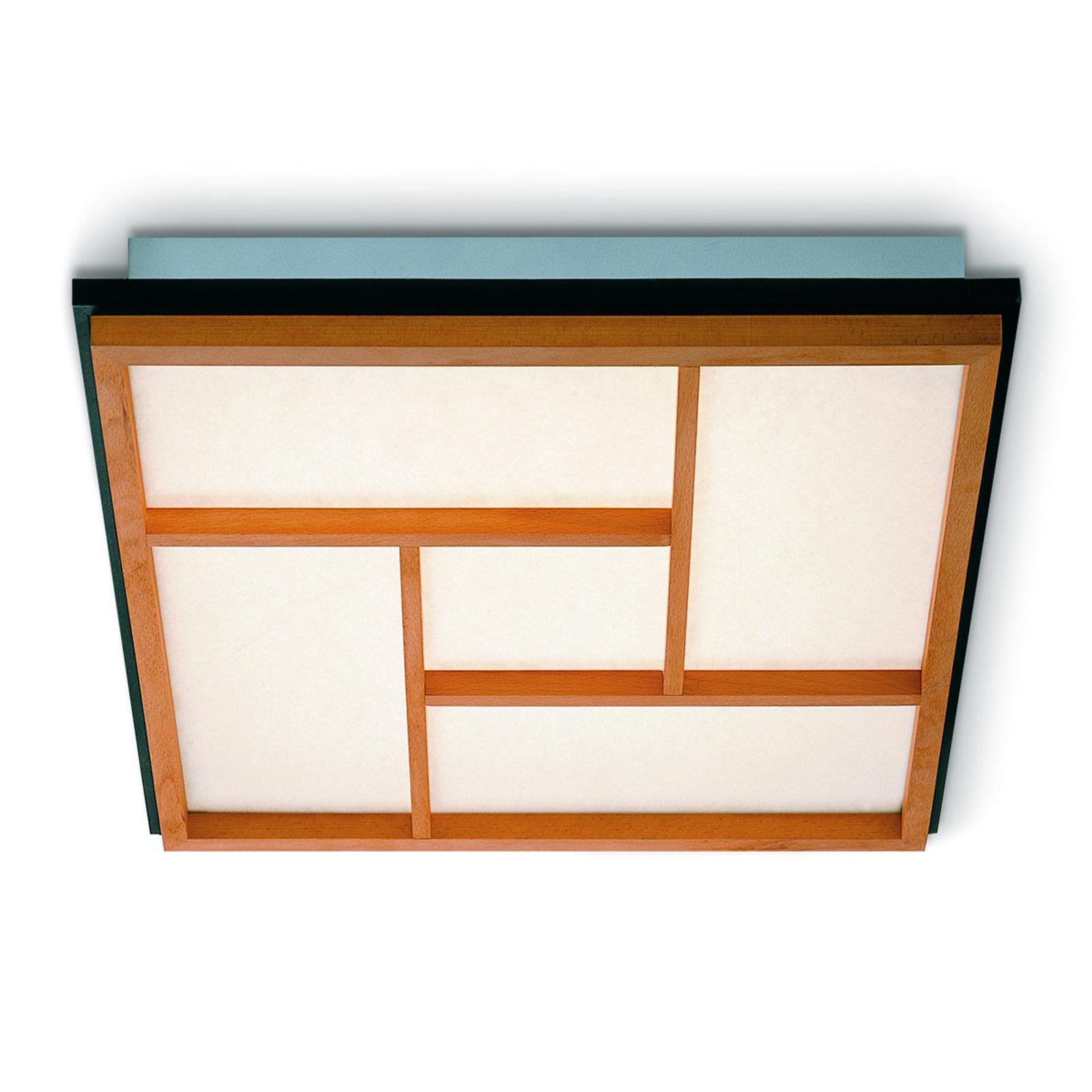 Plafonnier LED Kioto 5 en bois de hêtre
