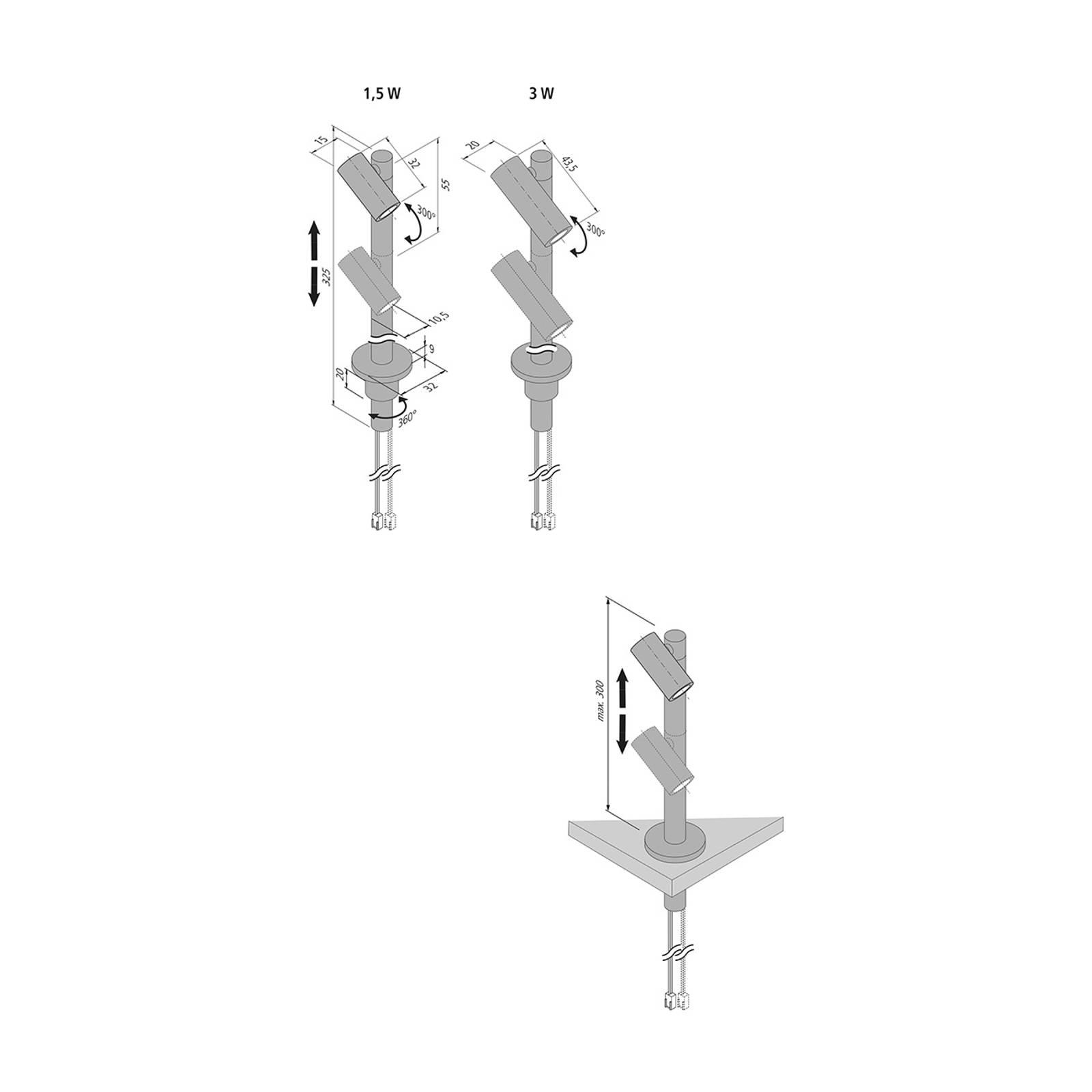 Strahler LED Duo Spot 2 x 3 W, alu, 3.000 K