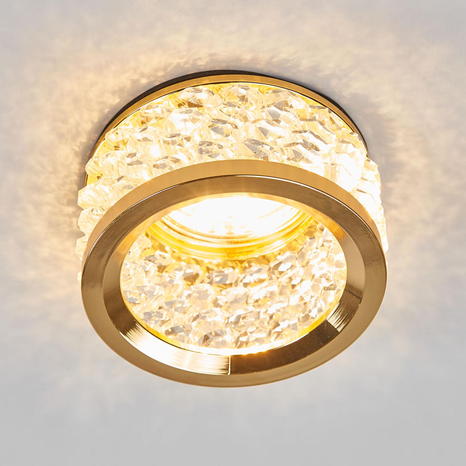 Mit Kristallschmuck -  Einbauleuchte Iwen gold