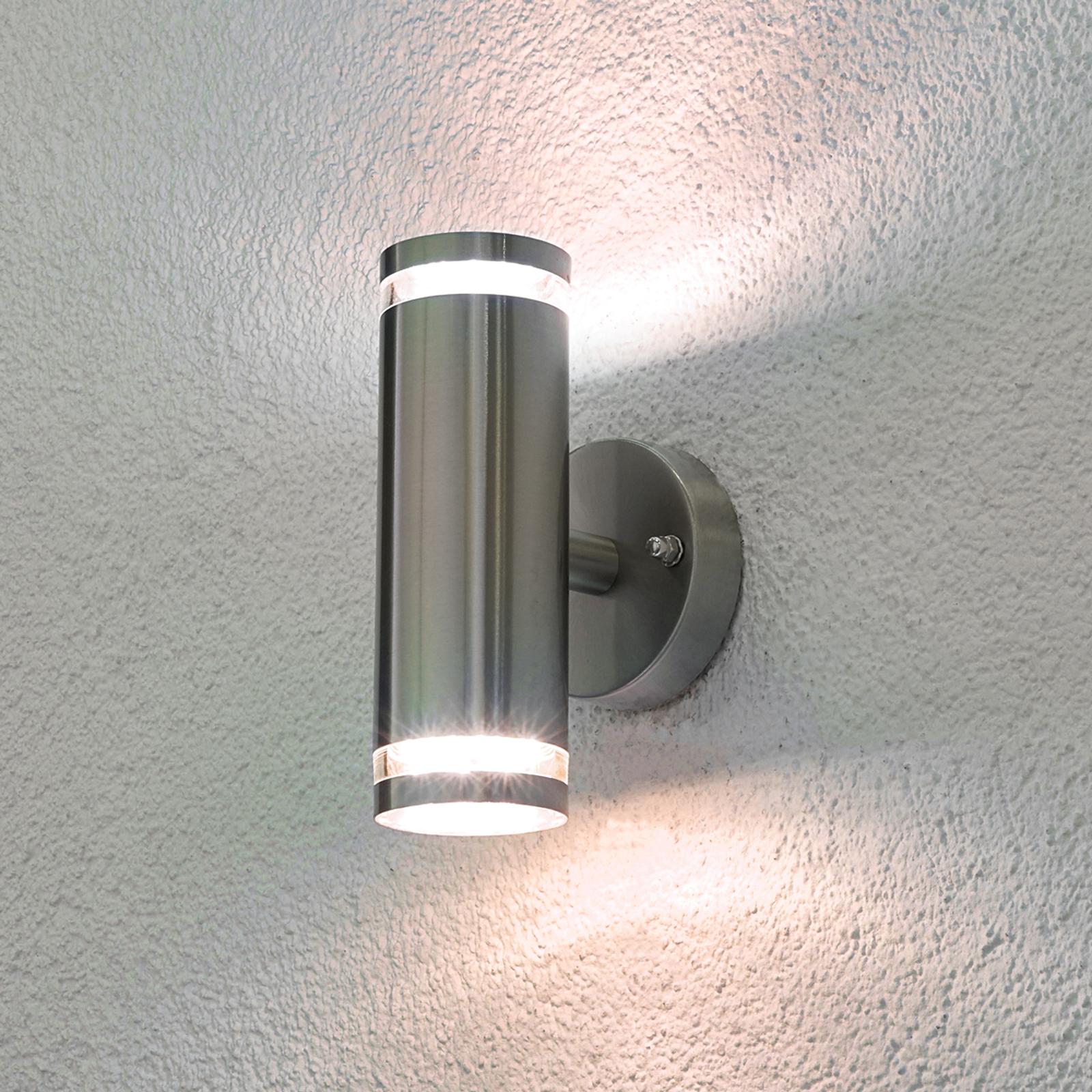 LED utendørs vegglampe Tiberius av rustfritt stål