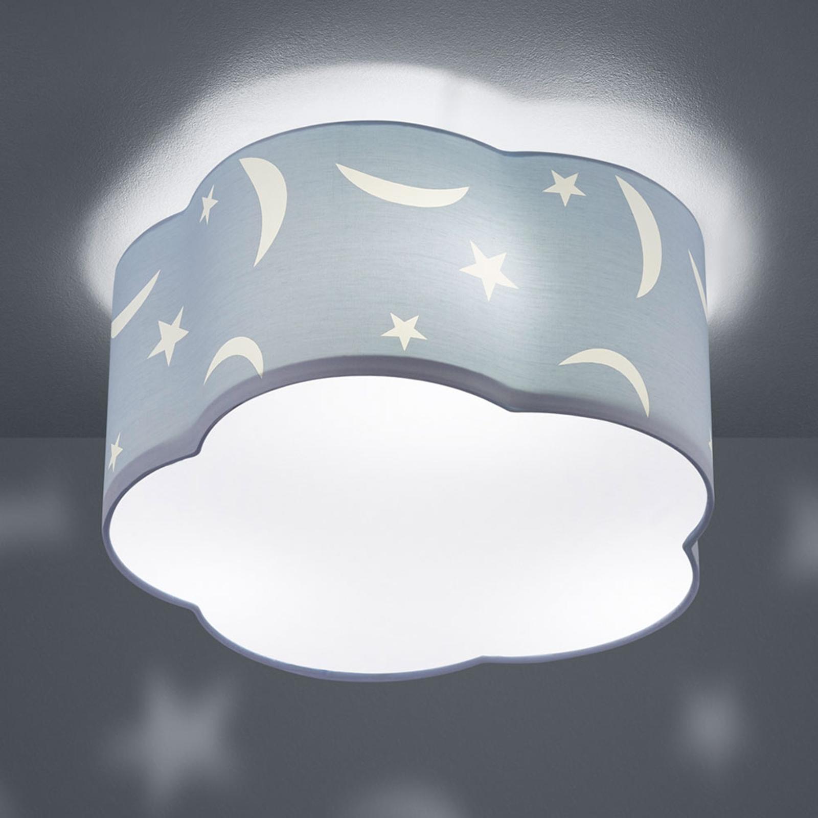 Taklampa Moony för barnrum pastellblå