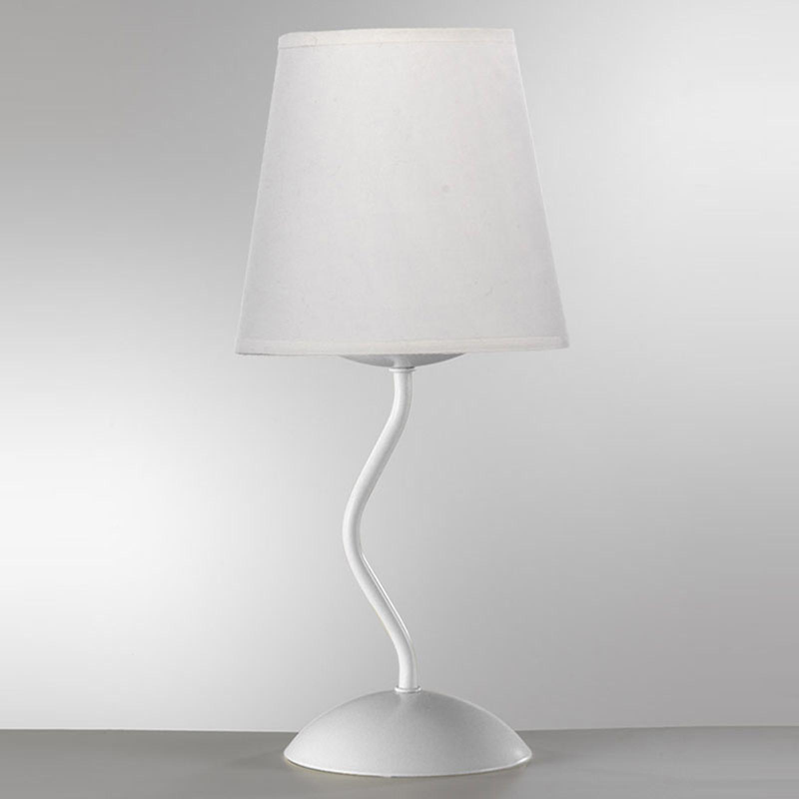 Lampa stołowa Margot z białym kloszem tekstylnym
