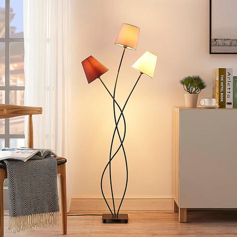 Lampadaire Melis à trois lampes, abat-jour tissu