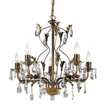Lámpara de araña Teresa con cristales, 5 luces