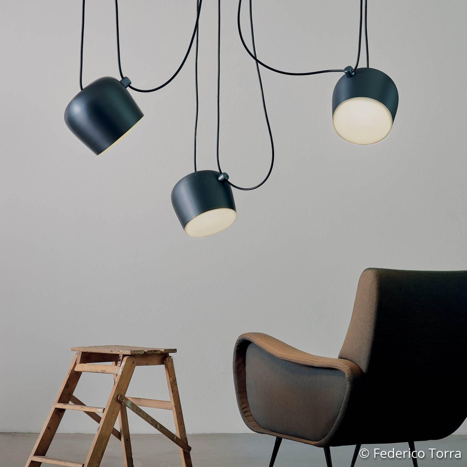 FLOS Aim LED-Pendelleuchte blue steel eloxiert