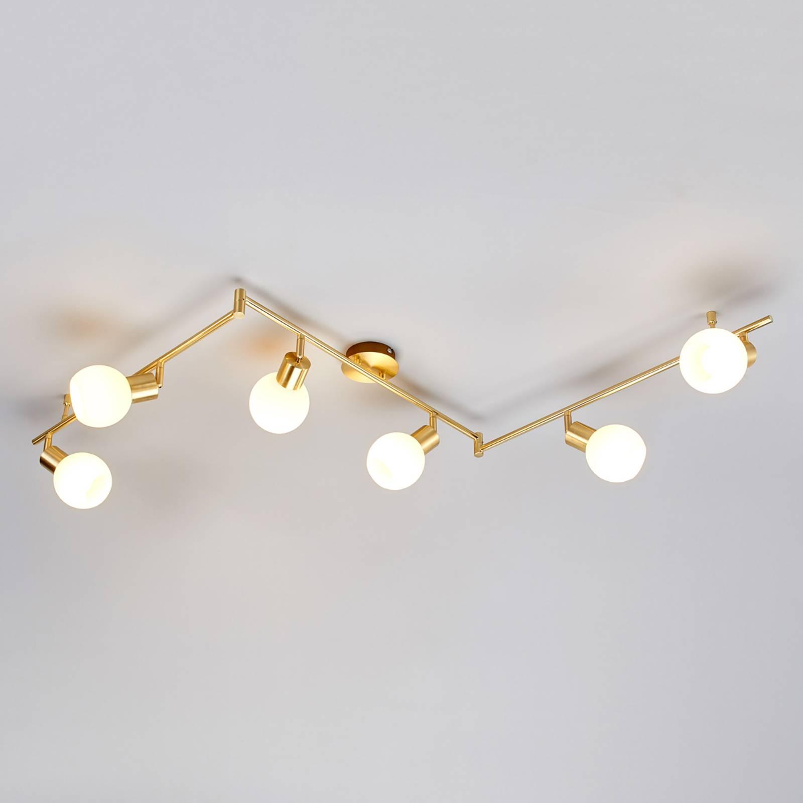 6-lichts LED-plafondlamp Elaina, messing