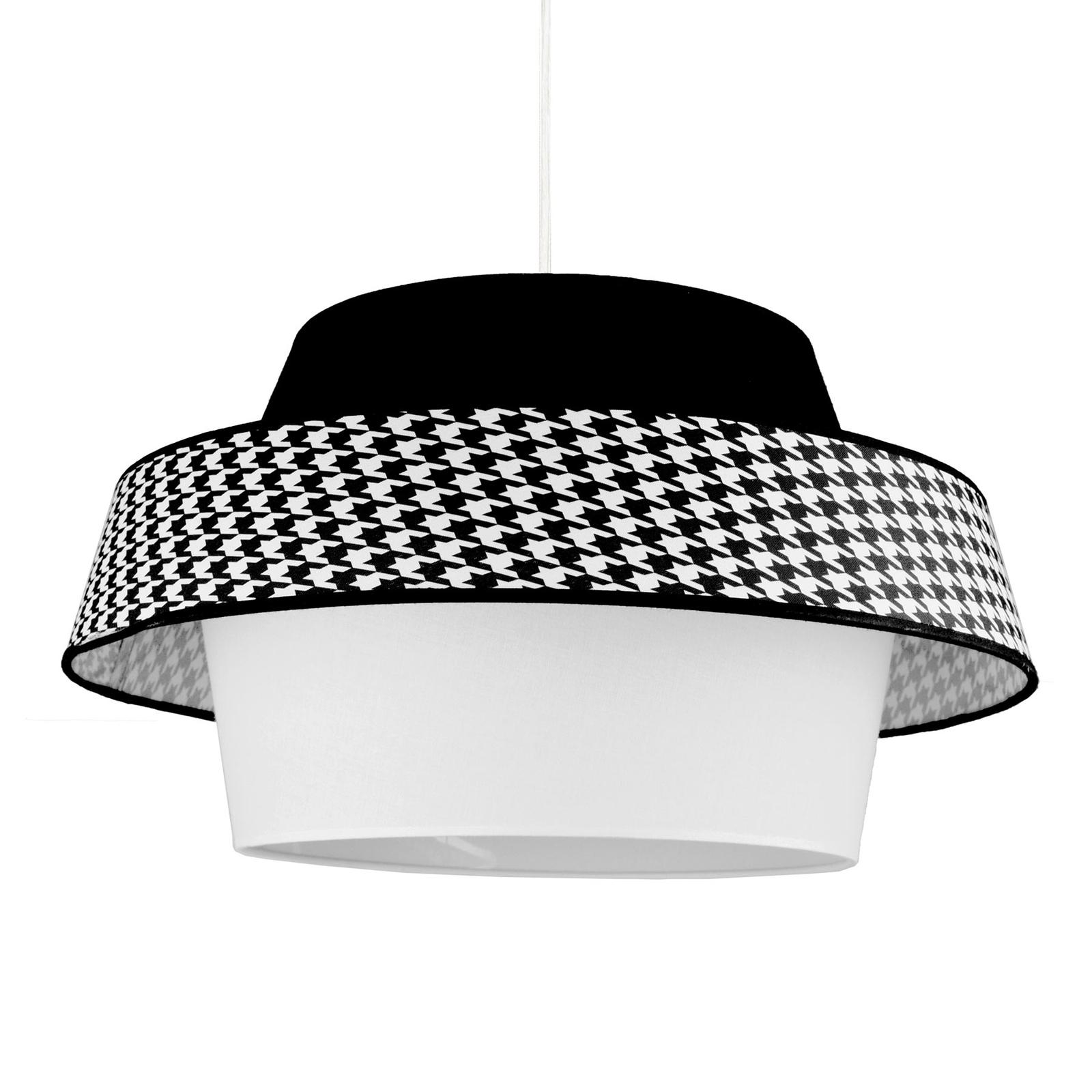 Hanglamp Andromeda, wit/zwart/pepita-patroon