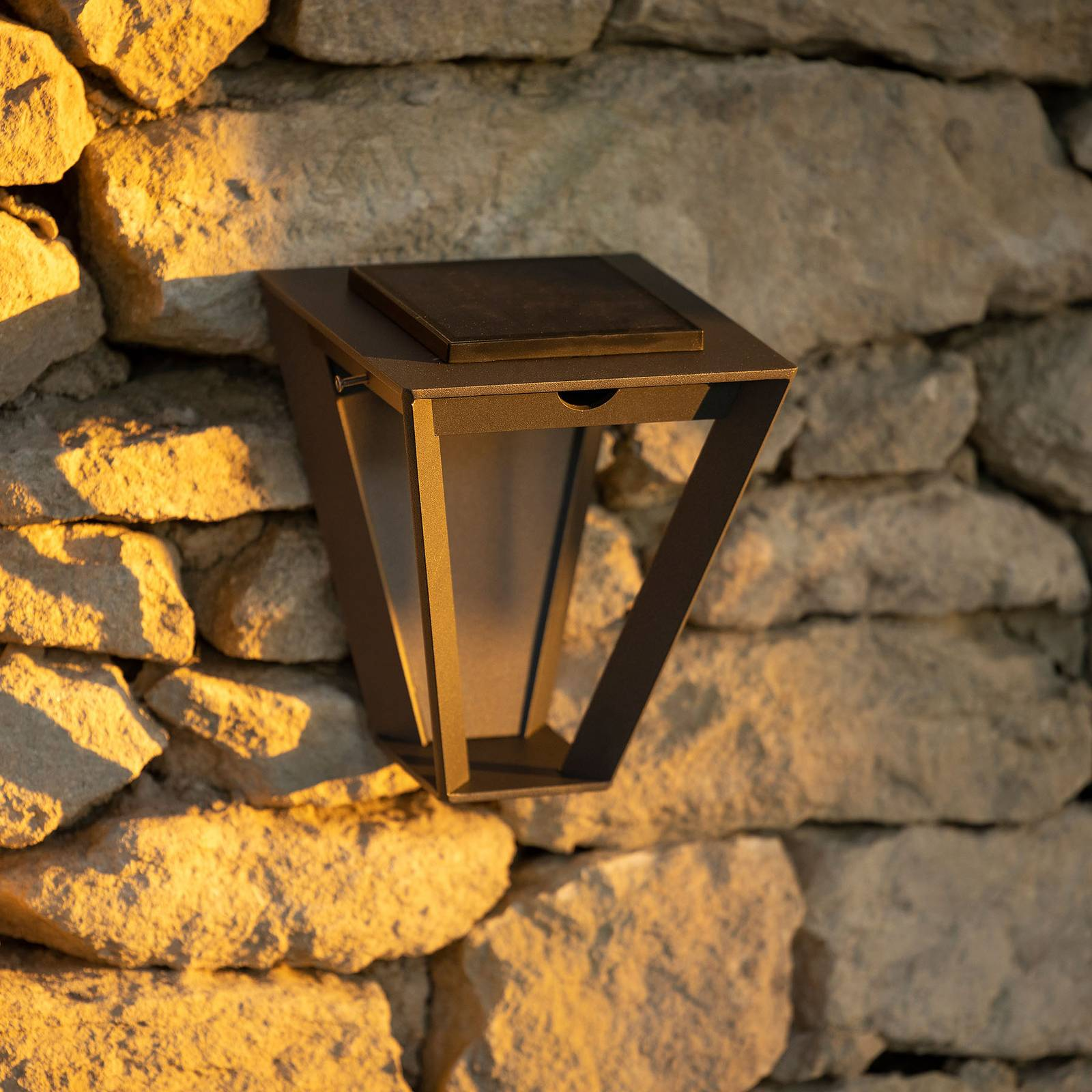 Solarna lampa ścienna LED Metro czujnik, szara