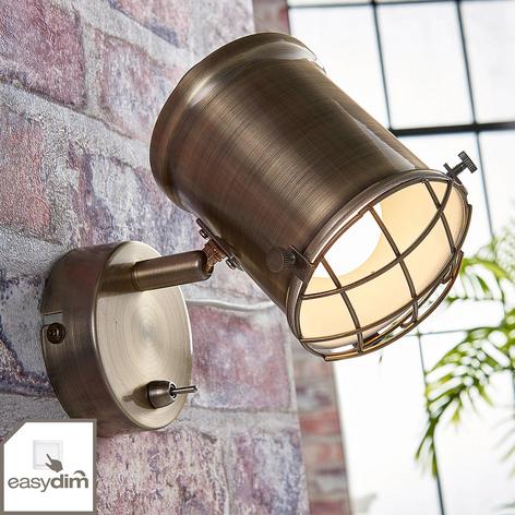 Nástěnný LED spot Ebbi ve starožitné mosazi